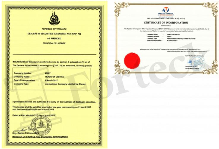 липовые документы Trade GF