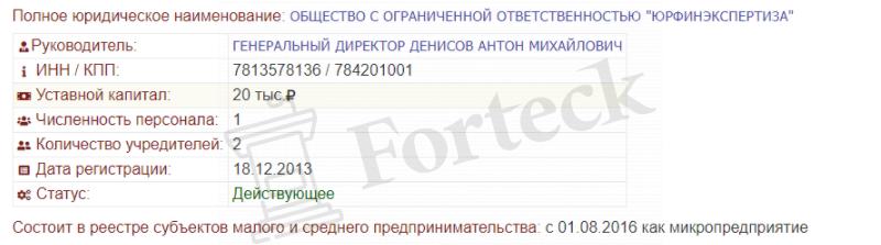 регистрационные реквизиты Юрфин Экспертиза