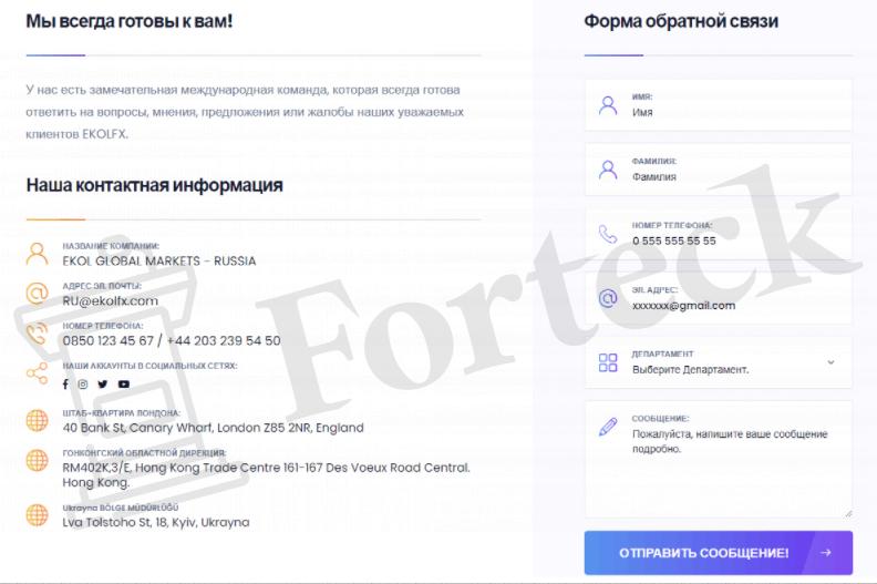Контактная информация EkolFX company